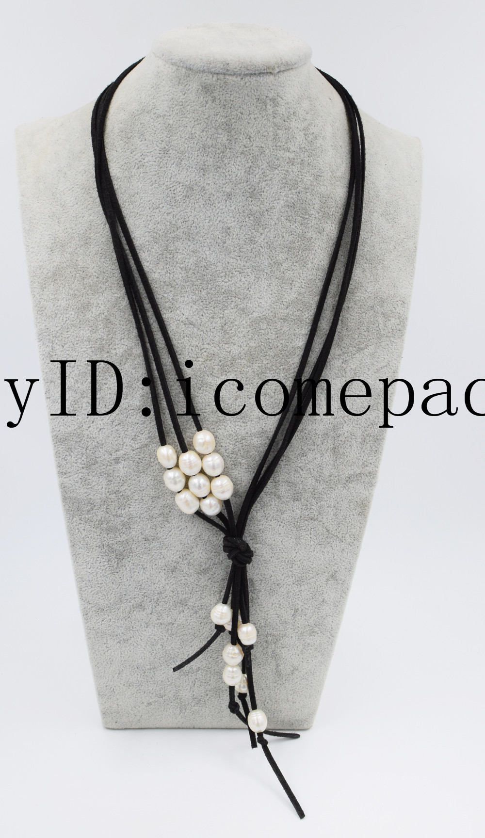 """3rows freshwater pearl white egg and black leather necklace 24/"""" 9-13mm"""